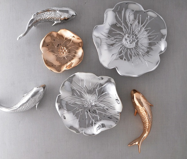 Настенный декор Fish and Water Lily Gold and Silver-0
